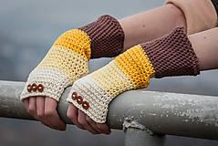 Rukavice - Bavlnené hnedo béžovo žlté rukavice - 5116327_