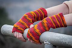 Rukavice - Červeno oranžové rukavice bez prstov - 5116563_