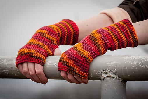Červeno oranžové rukavice bez prstov