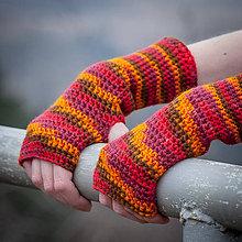 Rukavice - Červeno oranžové rukavice bez prstov - 5116559_