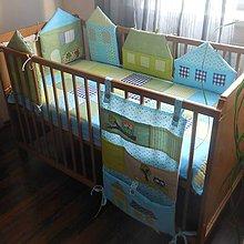 Textil - Súprava do postieľky,,Modro-zelené domčeky,, - 5114074_