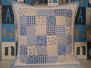 Úžitkový textil - patchwork obliečka 40x40 cm bledo-modrá  biela - 5117220_