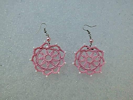 Háčkované náušnice ružové 2   SnowRose - SAShE.sk - Handmade Náušnice da8301008ec