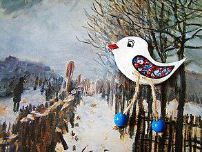 Odznaky/Brošne - Modro-červené vtáča - 5117819_
