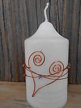 Svietidlá a sviečky - svadobné sviečky s medeným srdiečkom - 5114805_