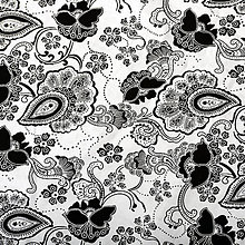 Textil - Ornament white black, š. 145cm - 5122686_