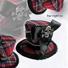 Ozdoby do vlasov - Károvaný klobúčik-cylindrík - 5122998_