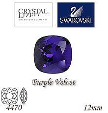 Korálky - SWAROVSKI® ELEMENTS 4470 Square Rhinestone - Purple Velvet, 12mm, bal.1ks - 5122893_