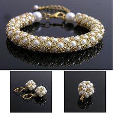Sady šperkov - Perličková sada bielo zlatá - 5125983_
