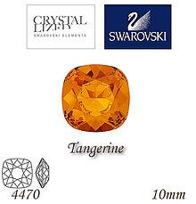 Korálky - SWAROVSKI® ELEMENTS 4470 Square Rhinestone - Tangerine, 10mm, bal.1ks - 5126122_