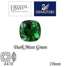 Korálky - SWAROVSKI® ELEMENTS 4470 Square Rhinestone - Dark Moss Green, 10mm, bal.1ks - 5126600_