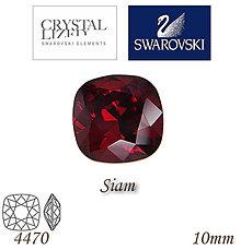 Korálky - SWAROVSKI® ELEMENTS 4470 Square Rhinestone - Siam, 10mm, bal.1ks - 5126756_