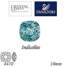 Korálky - SWAROVSKI® ELEMENTS 4470 Square Rhinestone - Indicolite, 10mm, bal.1ks - 5126935_