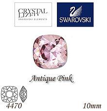 Korálky - SWAROVSKI® ELEMENTS 4470 Square Rhinestone - Antique Pink, 10mm, bal.1ks - 5126998_