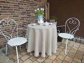 Úžitkový textil - Okrúhly ľanový obrus (110 cm - Béžová) - 5125184_