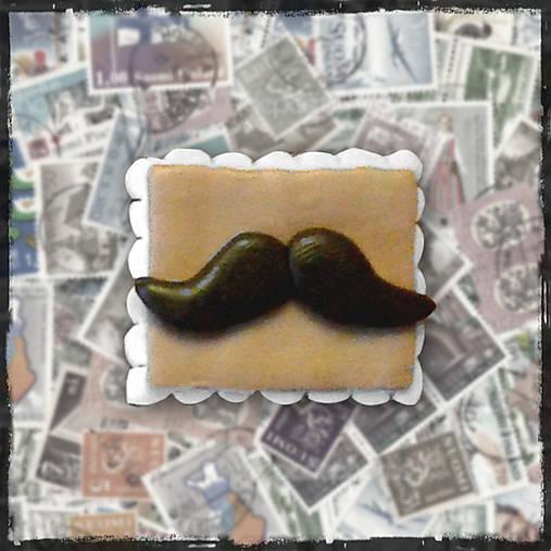 Polymérová poštová známka - moustache fúzy