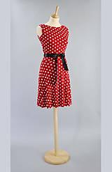 - Bodkované šaty ...červeno biele - 5132175_