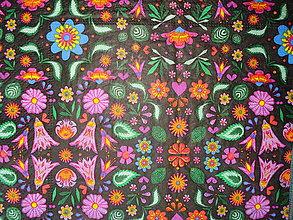 Papier - Servítka farebne kvety na čiernom podklade - 5128696_