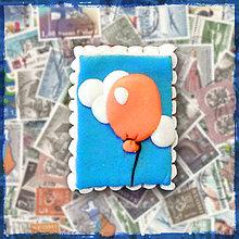 Materiál ručne robený - Polymérová poštová známka - balónik - 5131007_