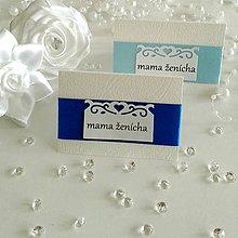Papiernictvo - Menovky na svadbu - modré odtiene - 5136250_