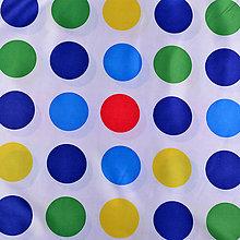 Textil - Biely satén s veľkými farebnými bodkami, - 5136675_