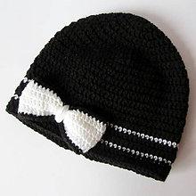 Detské čiapky - ZĽAVA z 8,70 - Čiapka s mašličkou v čierno bielej kombinácii - 5137216_