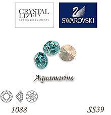Korálky - SWAROVSKI® ELEMENTS 1088 Xirius Chaton - Aquamarine, SS39, bal.1ks - 5135329_