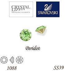 Korálky - SWAROVSKI® ELEMENTS 1088 Xirius Chaton - Peridot, SS39, bal.1ks - 5135376_