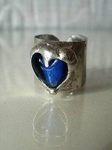Prstene - Tmavomodré srdiečko-prsteň-tiffany - 5139007_