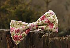 Doplnky - Pánsky motýlik rozkvitnuté ruže - 5138890_