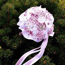 Kytice pre nevestu - Textilná svadobná kytica v staroružovej - 5141901_