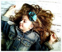 Ozdoby do vlasov - Čelenka-jeans & emerald flowers. - 5139737_