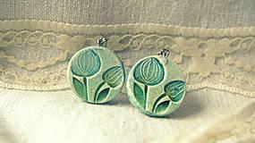 Náušnice - modro - zelené tulipány - 5140260_