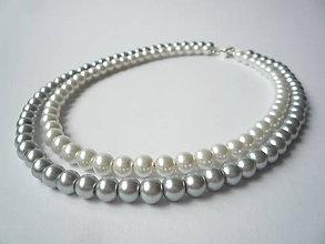 Náhrdelníky - Pretty Angelina necklace II. (white & grey) - 5139245_