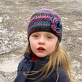 Detské čiapky - Farebná čiapka s kvetom - 5140302_
