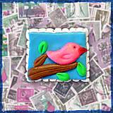 Materiál ručne robený - Polymérová poštová známka - vtáčik - 5139268_