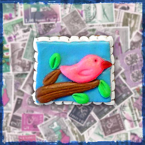 Polymérová poštová známka - vtáčik