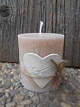 Svietidlá a sviečky - palmová sviečka s keramickým srdiečkom/vtáčik - 5143292_