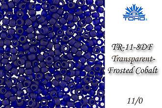 Korálky - Toho Round TR-11-8DF Transparent-Frosted Cobalt 11/0, bal.10g - 5146365_