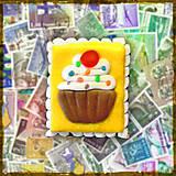 Materiál ručne robený - Polymérová poštová známka - koláčik - 5143172_