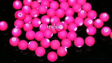 Korálky - neón - 8mm ružové 20ks - 5149337_