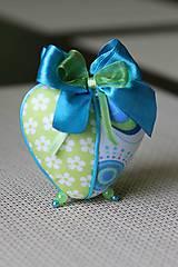 Dekorácie - Zeleno-tyrkysové srdce - 5149696_