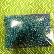 Korálky - Rokajl okrúhly 2mm s prieťahom (modrá biely prieťah) - 5148064_