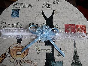 Bielizeň/Plavky - Podväzok modrý kvietok - 5148421_