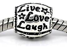 Pandorková korálka s nápisom LIVE LOVE LAUGH