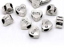 Korálky - Pandorková korálka srdiečko s nápisom GIRL - 5149231_