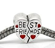 Pandorková korálka srdiečko s nápisom BEST FRIENDS