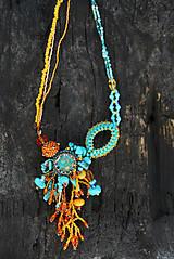 Náhrdelníky - Oranžovo tyrkysový náhrdelník - 5147928_