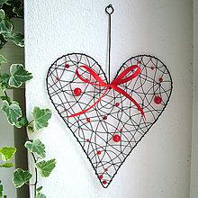 Dekorácie - veľké červené srdiečko, srdce s paličkou 27cm - 5153061_