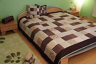 Úžitkový textil - prehoz na posteľ - patchwork deka veľká 220x220cm čokoládovo-béžová - 5155723_